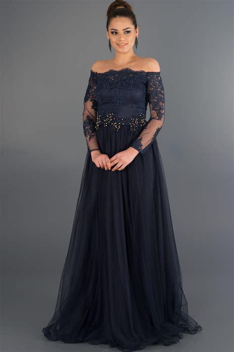 abiye elbise modelleri gece davet mezuniyet dn elbiseleri lacivert dantelli uzun kollu abiye ab621 abiyefon com