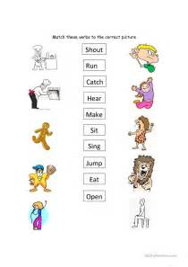 verb worksheet for kindergarten words