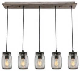 Polished Nickel Sconce Lighting 5 Light Glass Mason Jar Island Pendant Industrial