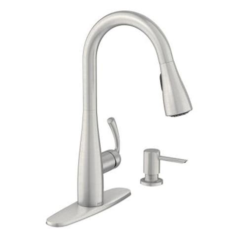 moen kitchen faucet with soap dispenser moen essie single handle pull sprayer kitchen faucet with soap dispenser in spot resist