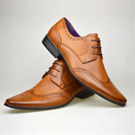brown shoes for mens new casual brown leather smart formal lace up shoes