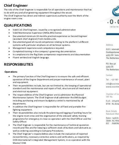 maintenance engineer description chief engineer description sle 9 exles in