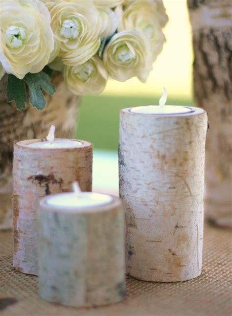 Birch Log Decor by 24 Centerpiece Birch Log Tea Light Candle Holders Rustic