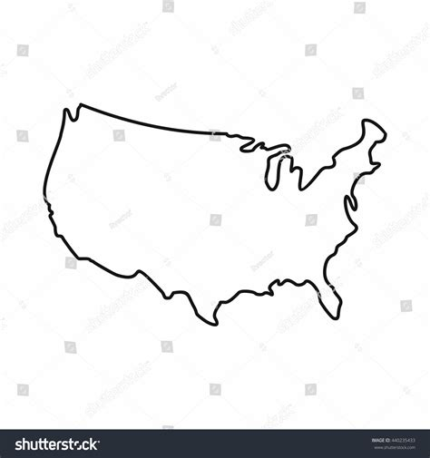 america map outline vector usa map icon outline style united stock vector 440235433