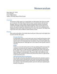 the body shop at work project summary memo