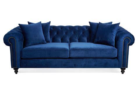 maria tufted velvet sofa blue sofas from one kings