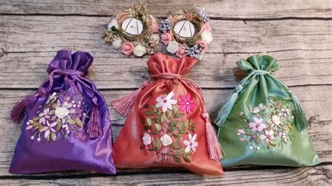 Shibori Drawstring Wedding Souvenir embroidery floral bags wedding favor bags gift drawstring bags gift bags bags