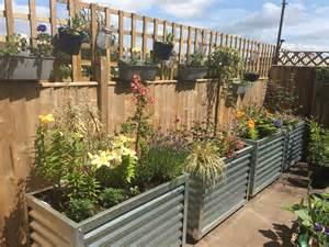 Corrugated Metal Raised Garden Beds - corrugated metal garden planter raised flower bed composter 1m long