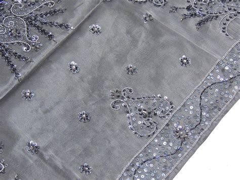 Organz Square Grey large organza embroidered tablecloth beaded fabric wedding table linen ebay