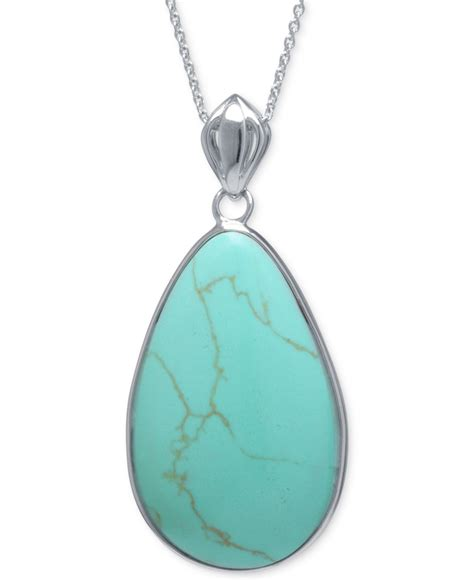 macy s manufactured turquoise teardrop pendant necklace in