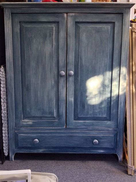 blue entertainment center distressed shabby chic vintage grey blue large chest