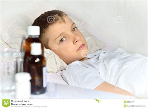 bed medicine sick little boy in the bed stock image image of patient
