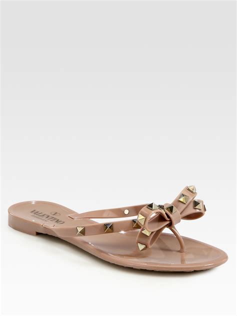 valentino bow shoes valentino rockstud studded bow jelly flip flops in