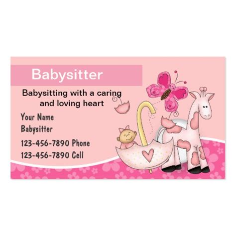 babysitting templates for business cards babysitting business cards