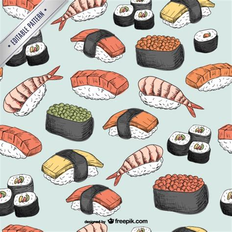 japanese meal pattern sushi pattern vector free download