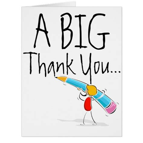 thank you letter to big big thank you card zazzle
