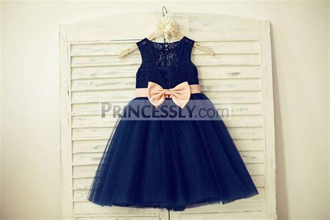 Blue Flower Back Dress Sml navy blue lace tulle keyhole back flower dress with blush pink belt bow avivaly