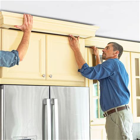 how to install crown moulding on kitchen cabinets mount the assembly how to install kitchen cabinet crown