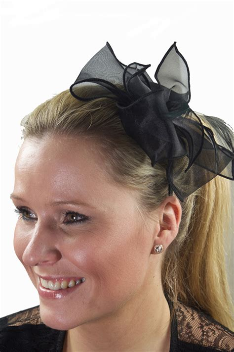 Chiffon Bow Hair Band black chiffon bow feather hairband fascinator black