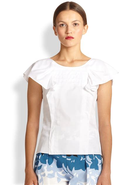 Carolina Blouse lyst carolina herrera cotton ruffle accent blouse in white