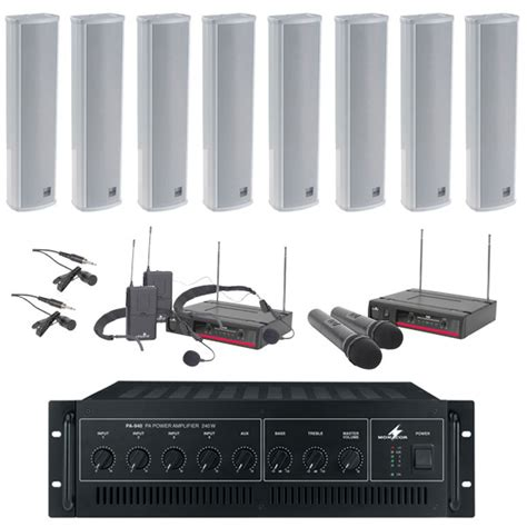 Speaker Column Toa church pa system with 5 column speakers lifier cable 4 mics