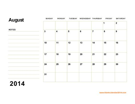 calendar 2014 template printable 4 best images of free printable blank calendar august 2014