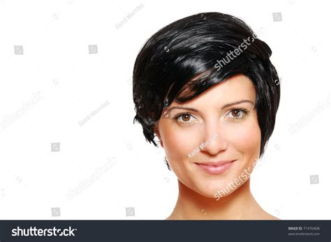 a lot of hair on woman portrait beautiful woman short black hair stock photo