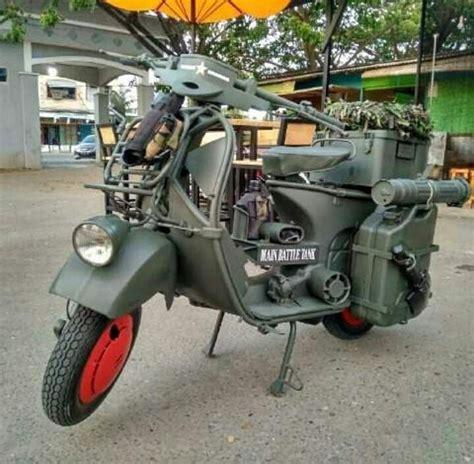modifikasi vespa army skuter modifikasi militer dengan gaya army tank steemit