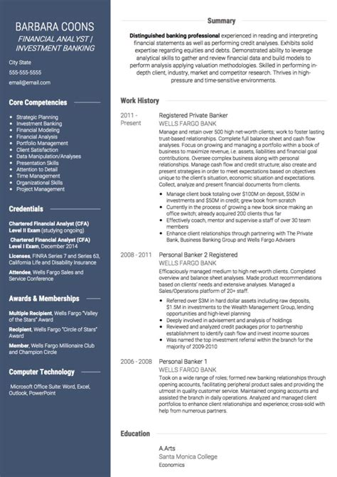 Resume Profile Exles Banking Banking Cv Exles And Template