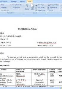 Engineering Resumes Pattern Of Cv