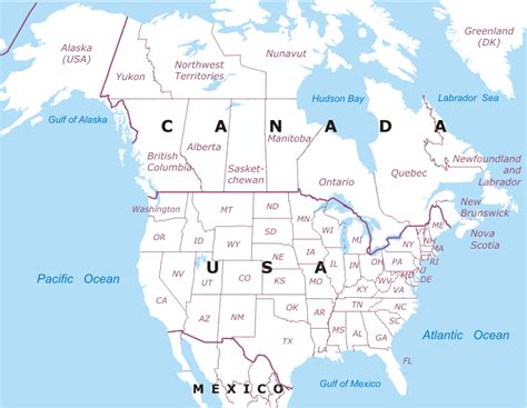 map   usa  canada  travel information