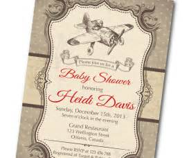 vintage airplane baby shower invitation retro baby boy shower