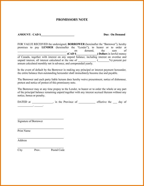 promissory note template canada promissory note demand letter docoments ojazlink