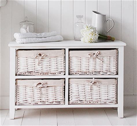 Bathroom Storage Units With Baskets Newport White Storage Unit With 4 Basket Drawers For Bathroom