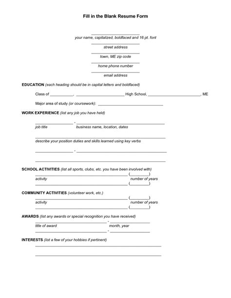 free fill in the blank resume 788 resume format