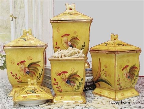 rooster kitchen canister sets rooster painted kitchen canister set jars tuscan