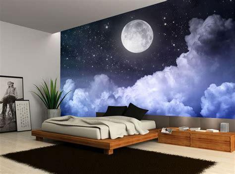 night sky wallpaper bedroom night sky moon clouds dark stars wall mural photo