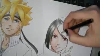 speed drawing uzumaki boruto uchiha sarada quot shippuden quot version