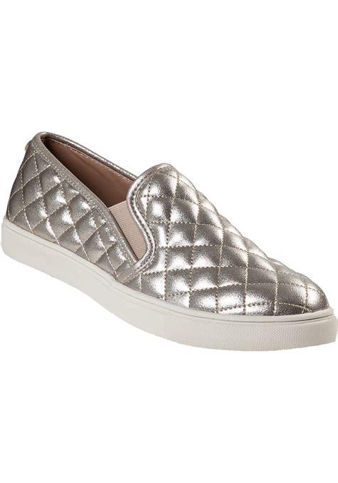 steve madden slip on sneakers lyst steve madden ecentrcq slip on sneakers in metallic