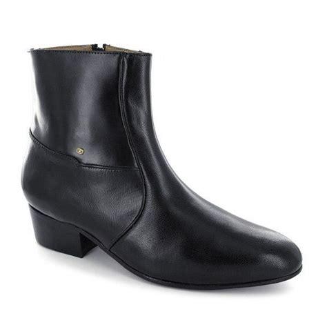 mens cuban high heel plain soft leather dress formal zip