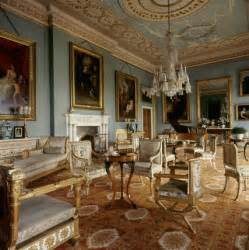 adam style pale blue painted drawing room with adam style ceiling at attingham attingham park at national