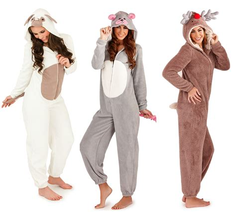 womens pug onesie fleece all in one onesie animal tiger leopard unicorn pyjamas jumpsuit ebay