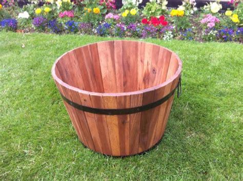 garden barrel planter tubs patio acacia wood metal