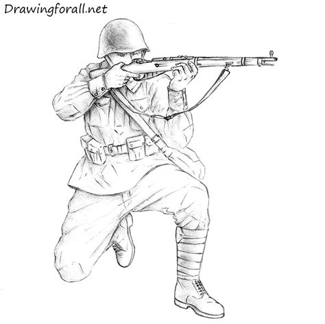 Cool Drawings Of Shooting 2 How To Draw A Soviet Soldier Drawingforall Net