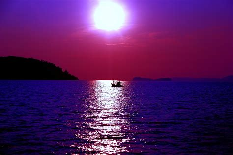 Free photo: Purple, Sea, Ocean, Sun, Nature   Free Image