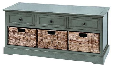 blue storage bench with baskets 3 wicker basket storage bench traditional accent and