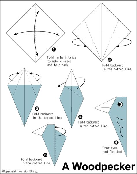 origami blueprints origami woodpecker easy origami for