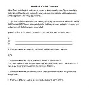 limited power of attorney template 15 word power of attorney templates free free