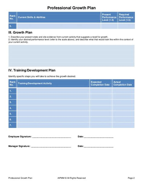 growth plan template professional growth plan template h castillo aipmm