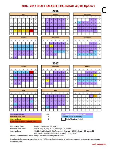 Balanced Calendar Balanced Calendar Calendar Options